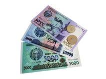 Coins and banknotes of Uzbekistan stock photos
