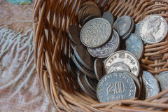 Coins in a basket Royalty Free Stock Photos