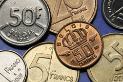 Coins of Belgium Stock Photo