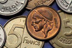 Coins of Belgium. Miner depicted on the Belgian 50 centimes coin Stock Photos