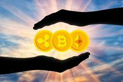 Coins bitcoin, etherium, ripple in the hands. Of a man under protection. The concept of crypto currency royalty free stock photo