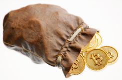 Coins of Bitcoin in a leather pouch. Isolated on white background. 3D illustration Royalty Free Stock Image
