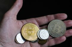 Coins bitcoin in the palm of your hand. Coins bitcoin lie on the palm of your hand royalty free stock photography