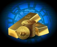 Coins Bitcoin and two Gold bars on dark background. Concept cryptocurrency in financial world. Banking business. illustration Royalty Free Stock Images