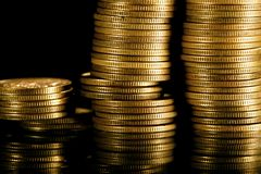 Coins on black Stock Image