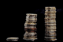 Coins and black background Royalty Free Stock Photography