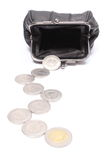 Coins with black leather purse. White background Royalty Free Stock Photography