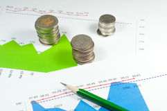 Coins on blue green graphs and charts background with pencil. mo Royalty Free Stock Photos