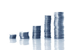 Coins in blue tone Royalty Free Stock Photography