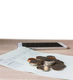 Coins on book bank account for money saving concept and white bl Stock Images