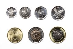 Coins from Botswana - Pula. On a white background royalty free stock photos