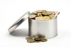 Coins in box Royalty Free Stock Photography