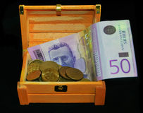 Coins in the box Royalty Free Stock Photo