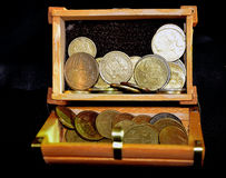 Coins in the box Royalty Free Stock Photography