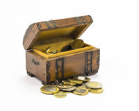 Coins in the box. Old open treasure box with gold coins stock image