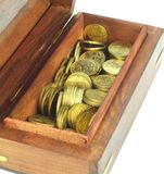Coins in a box. Coins in a wooden box on white back ground Stock Photography