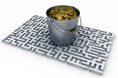 Coins in the bucket Royalty Free Stock Photos