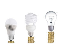 Coins and bulbs Royalty Free Stock Photography
