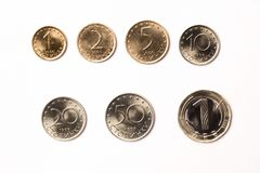 Coins from Bulgaria. On a white background Royalty Free Stock Photography