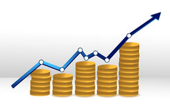 Coins business graph Stock Photos