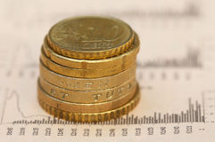 Coins on business page of a news paper Stock Images