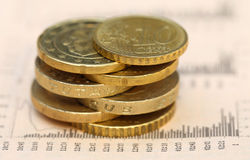 Coins on business page of a news paper Royalty Free Stock Photography