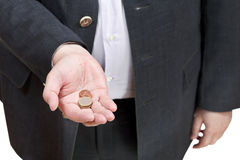 Coins in businessman hand isolated Stock Image