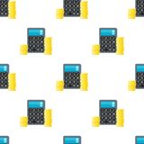 Coins and Calculator Icon Seamless Pattern. A seamless pattern with a small calculator with stack of golden coins flat icon, isolated on white background. Useful Royalty Free Stock Image