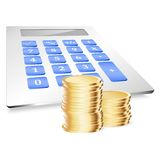 Coins with calculator. Vector illustration Royalty Free Stock Photo
