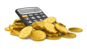 Coins and calculator. On white background Stock Photos