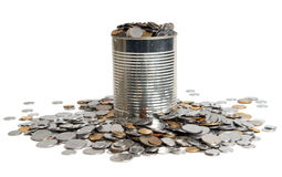 Coins and can Stock Photography
