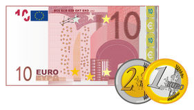 Coins and cash. Cash of ten euro with two cents of euro Stock Photos