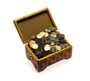 Coins in a casket Royalty Free Stock Photo