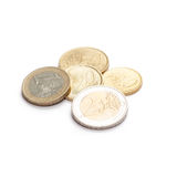 Coins 10 cents to two Euro, isolated on white Stock Images