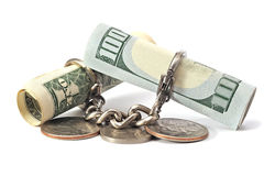 $ 100, and $ 1 coins and chains. Denominations of $ 100 and $ 1 coins on the linked chain Stock Image