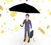 Coins Character Represents Business Person And Sky 3d Rendering. Money Windfall Meaning Business Person And Executive 3d Rendering Stock Photography