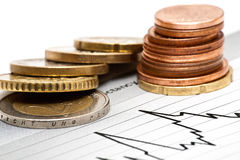Coins on chart Stock Photography