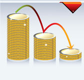 Coins and chart Stock Photos