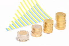 Coins and chart Stock Photography