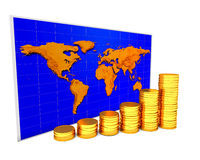 Coins chart. Over world map on the white background Royalty Free Stock Images