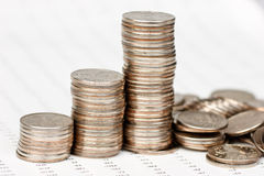 Coins chart collapsing Stock Photography