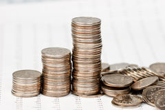 Coins chart collapsing Stock Image