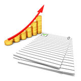 Coins chart and documents Royalty Free Stock Image