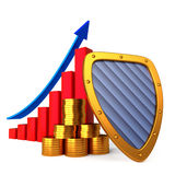Coins chart and shield. Business stability concept Royalty Free Stock Image