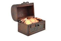 Coins in a chest Royalty Free Stock Image