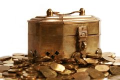 Coins in the chest Stock Photo