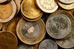 Coins circulating in colombia. Macro mosaic composed with the Colombian coins in their different denominations Royalty Free Stock Photo