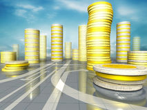 Coins city. 3d image of skyscrapers city made up of coins Stock Photo
