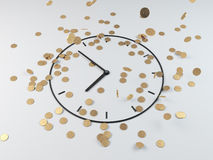 Coins and clock, 3d render Stock Images