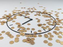 Coins and clock, 3d render Royalty Free Stock Image